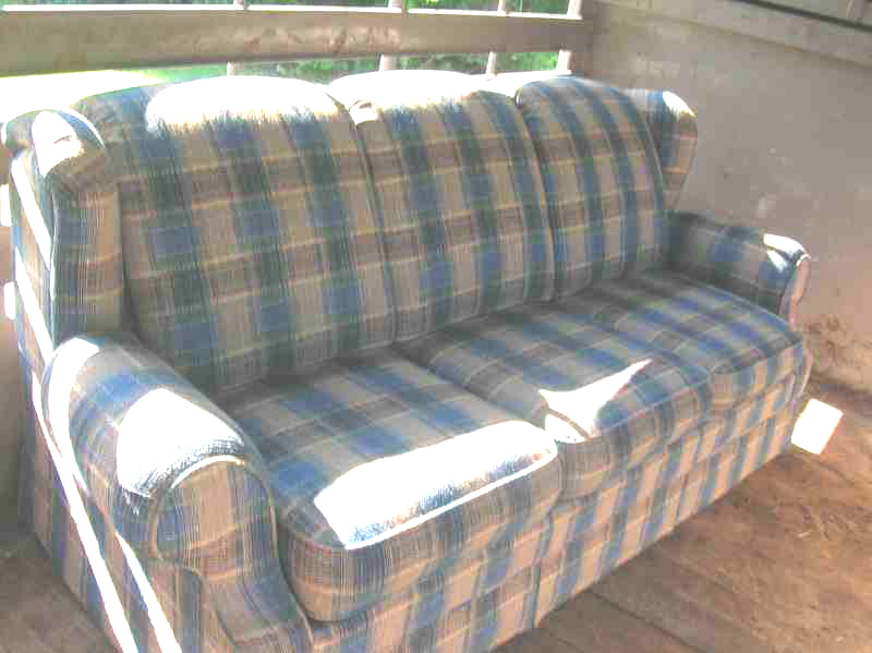 Blue Plaid Sofa Country Sofas Anyone Have Couches
